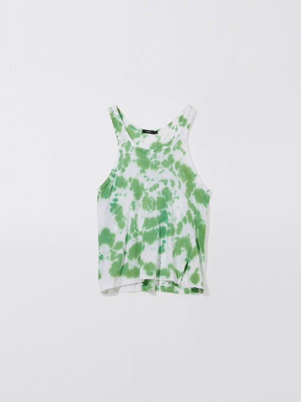 bassike motley slouch athletic tank in white / bright green motley