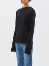 bassike raised neck slim long sleeve t.shirt in grey marl