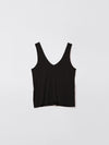 bassike fitted v neck tank in black