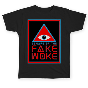 Beware of the Fake Woke - Pop culture t-shirt design by Hal Hefner Consume Pop