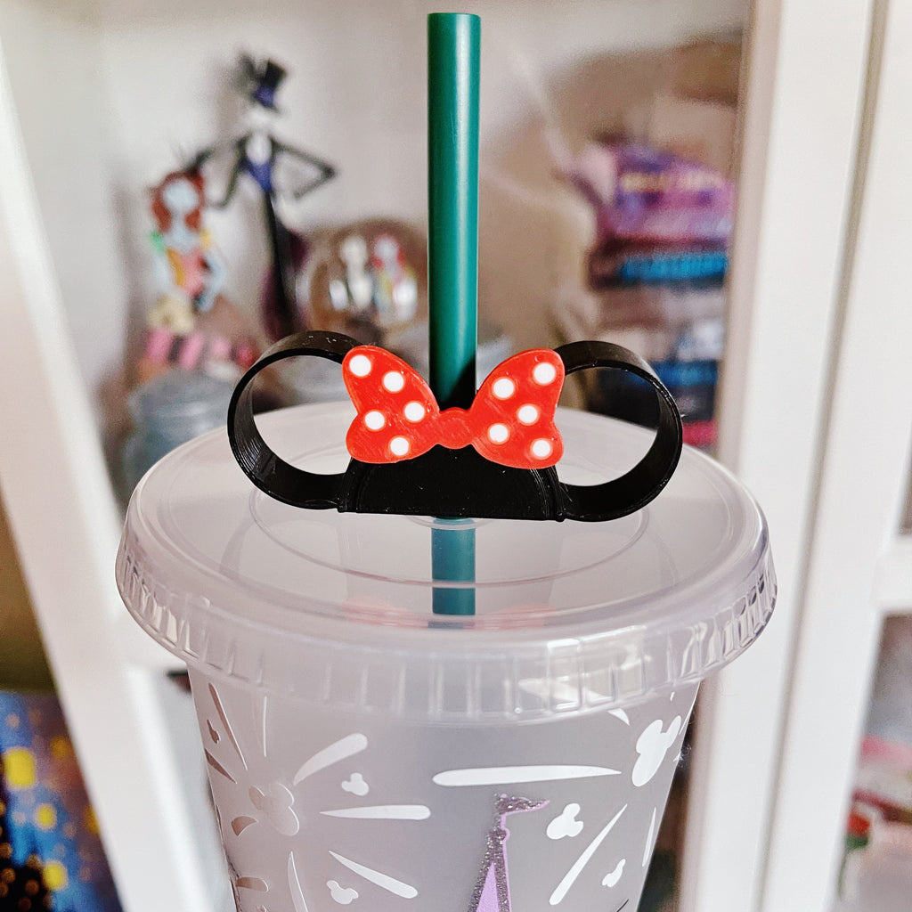 Black Mouse Ears w/ Red Bow and White Polka Dots Straw Buddy