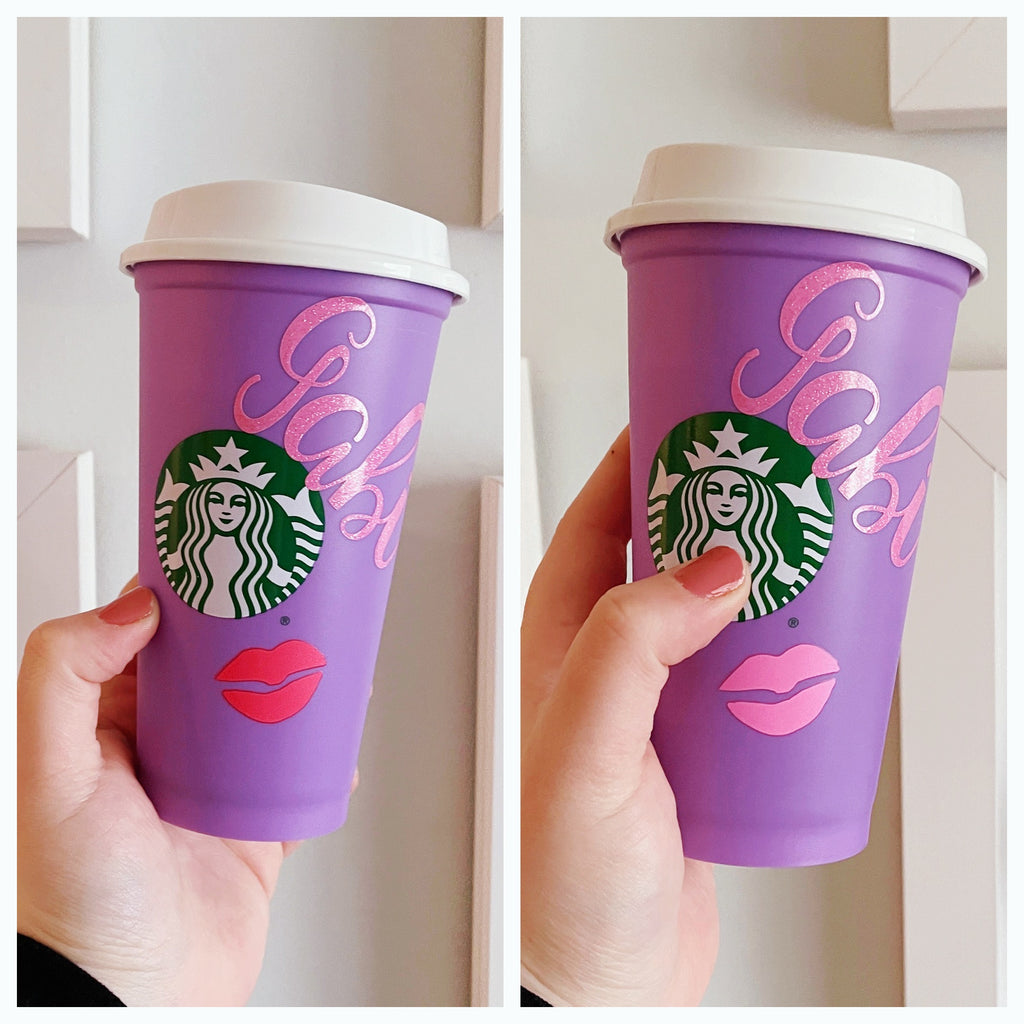 Purple Name only Hot Cup w/ Color Changing Kiss