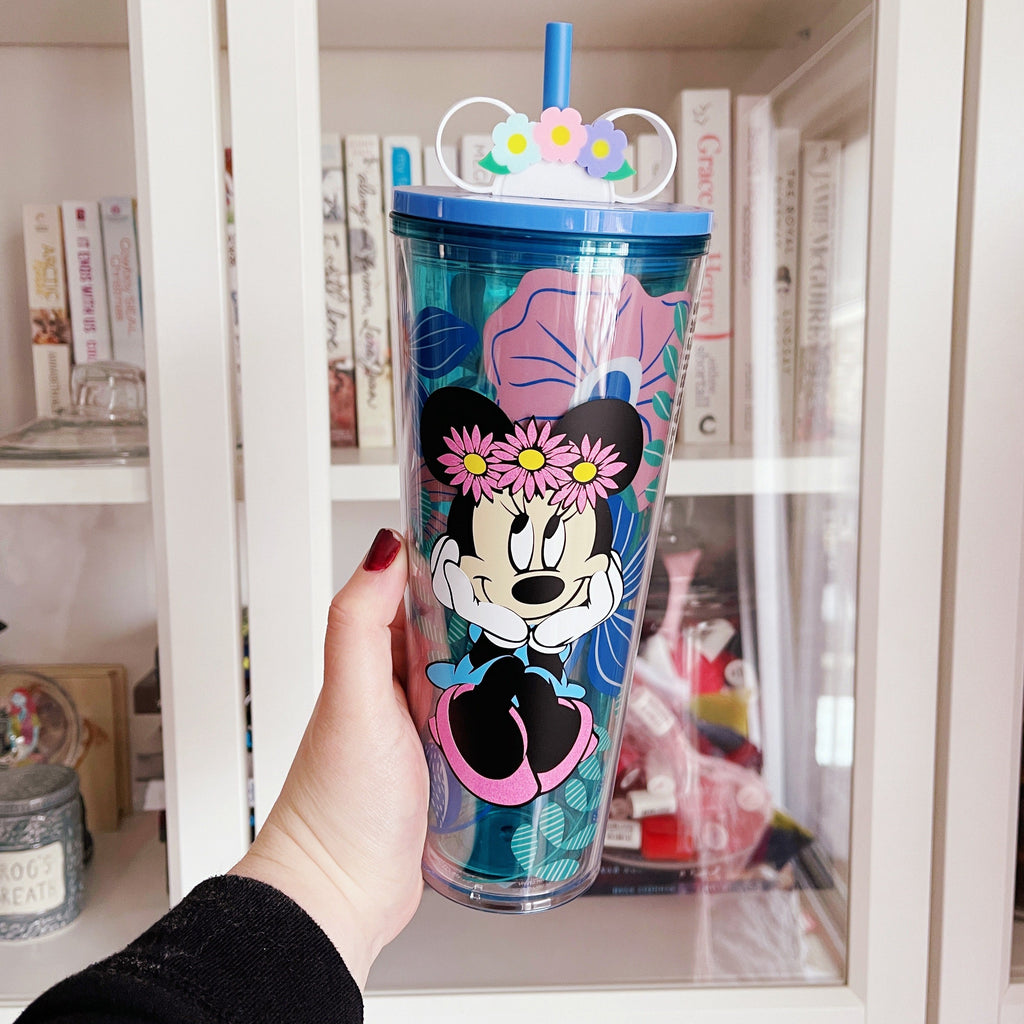 Flower Mouse Character Inspired Floral Tumbler w/ straw buddy