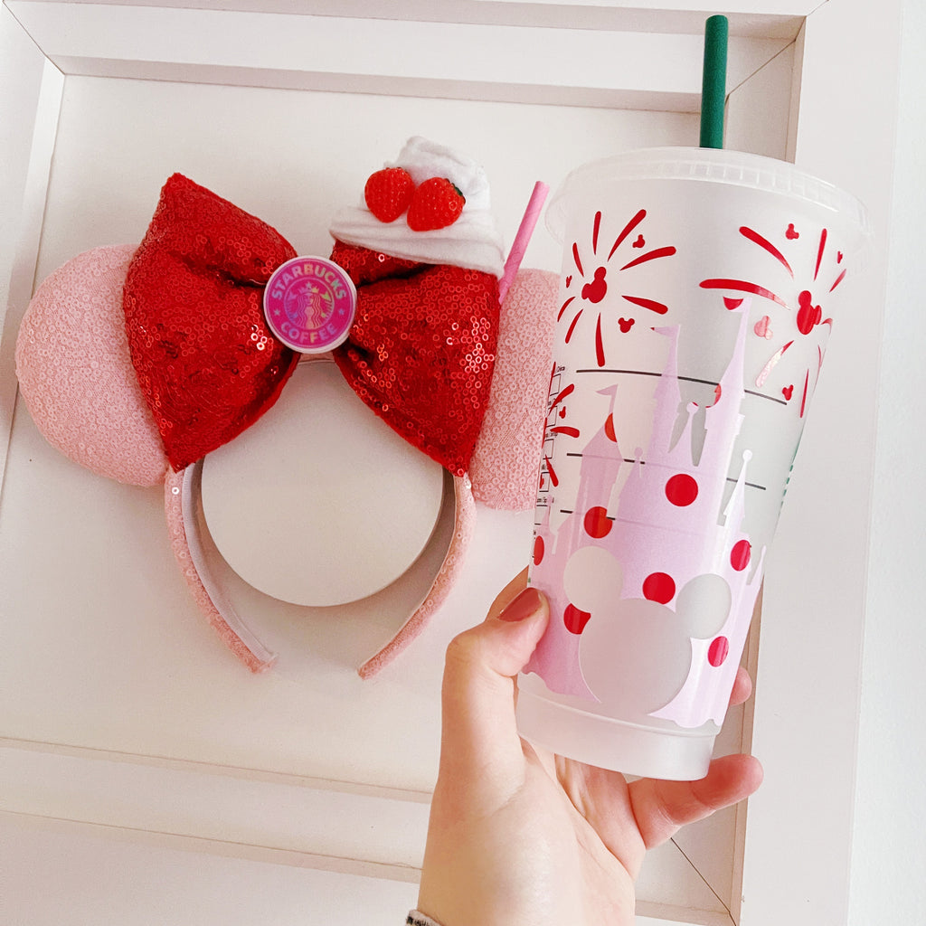 Pink w/ Red Polka Dots Mouse Castle Venti Cold Cup