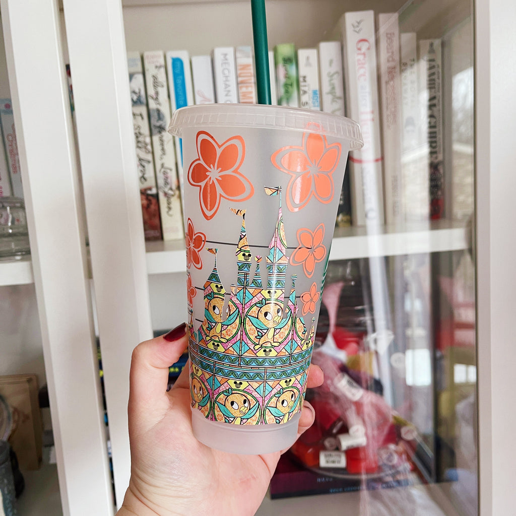Orange Character Castle with Flowers Inspired Cold Cup