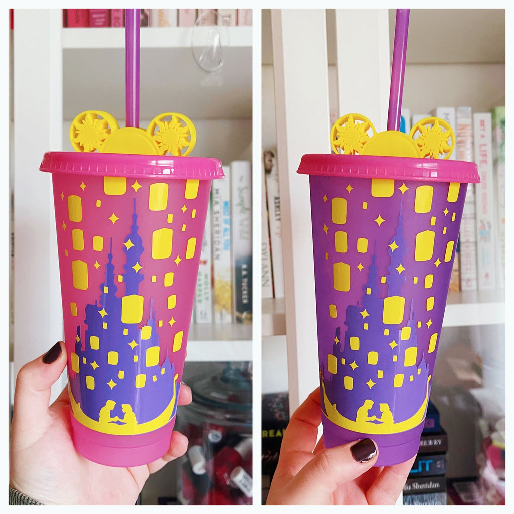 Tangled Inspired Color Changing Cold Cup INCLUDES matching Straw Buddy