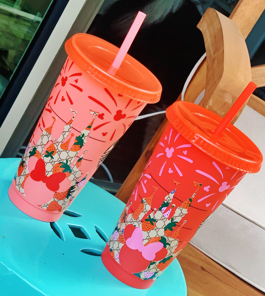 Luxury Inspired Strawberry Pattern Castle Cold Cup
