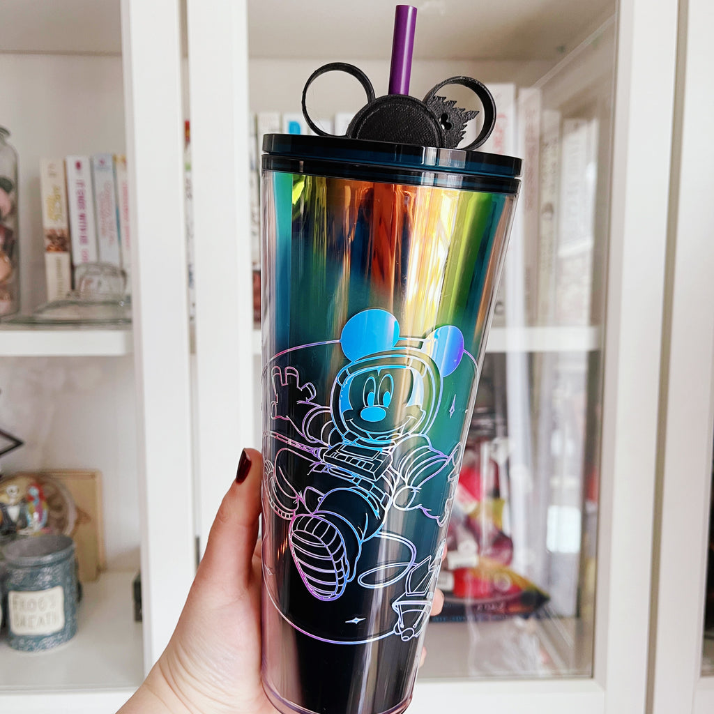 Astronaut Mouse on Ombre Tumbler w/ Straw Buddy
