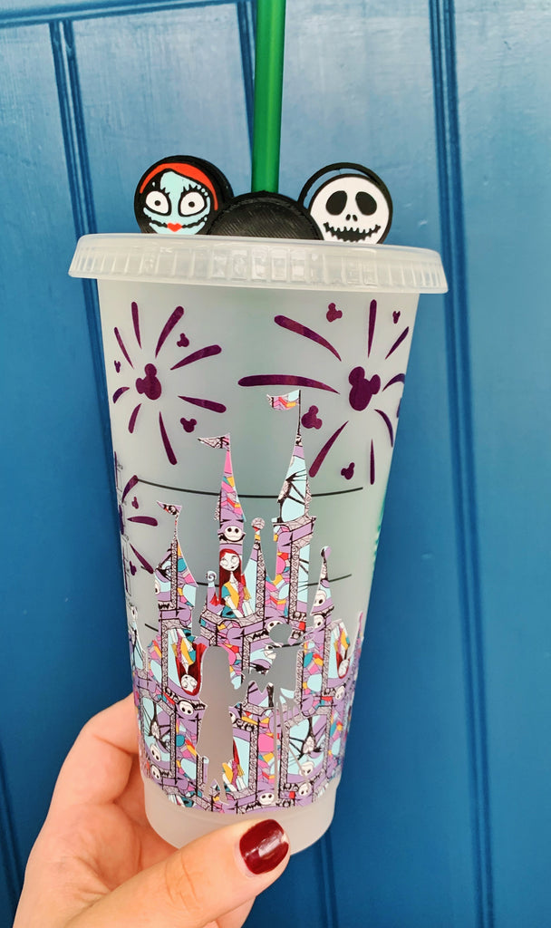 Halloween Gray Pattern w/ Purple Fireworks Movie Themed Castle Cold Cup