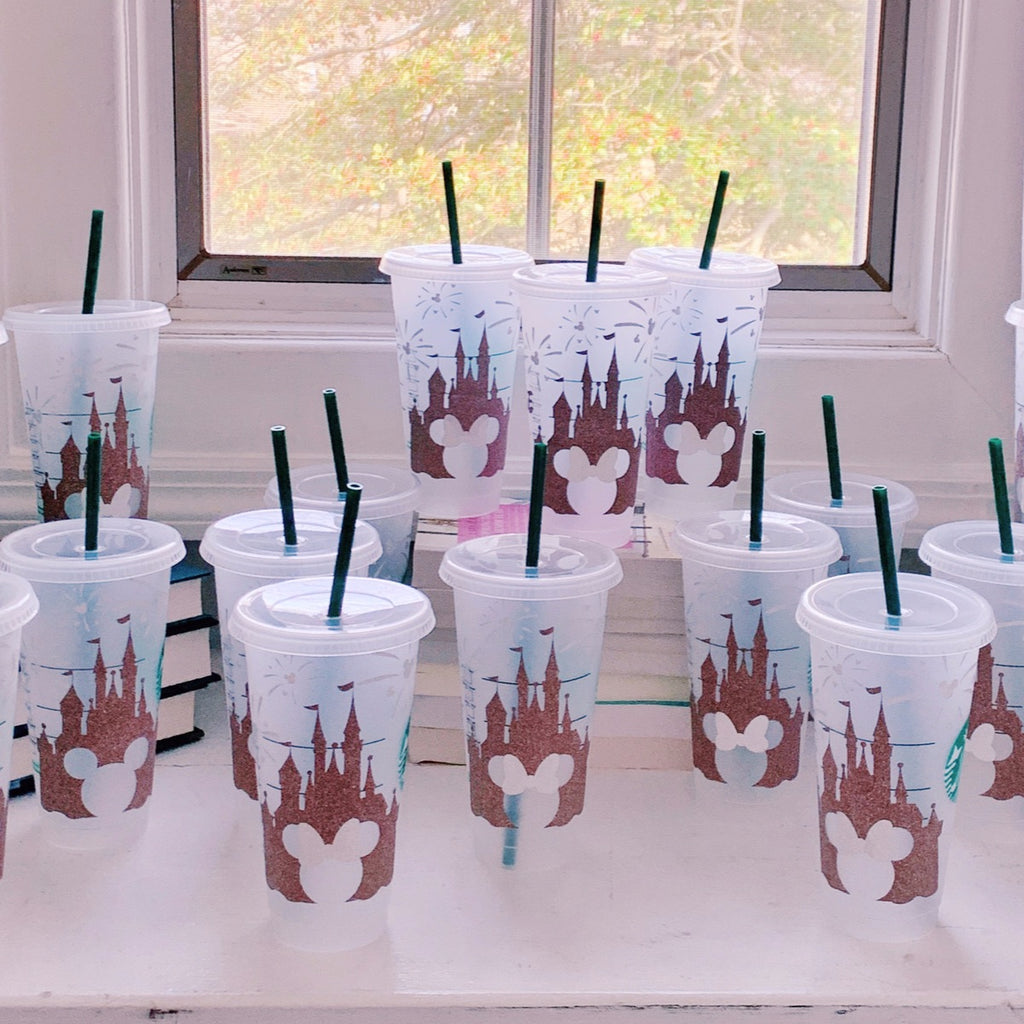 Rose Gold Castle with Silver Glitter Fireworks Cold Cup