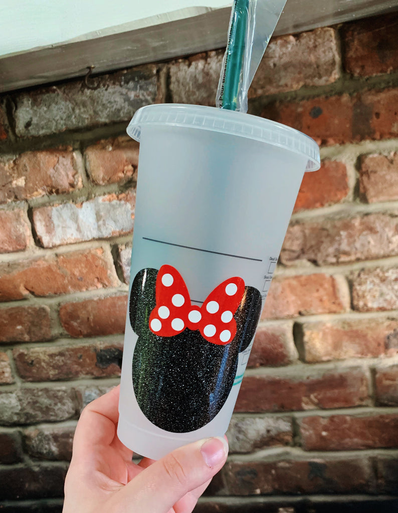Mouse Head w/ Bow Inspired Reusable Cold Cup