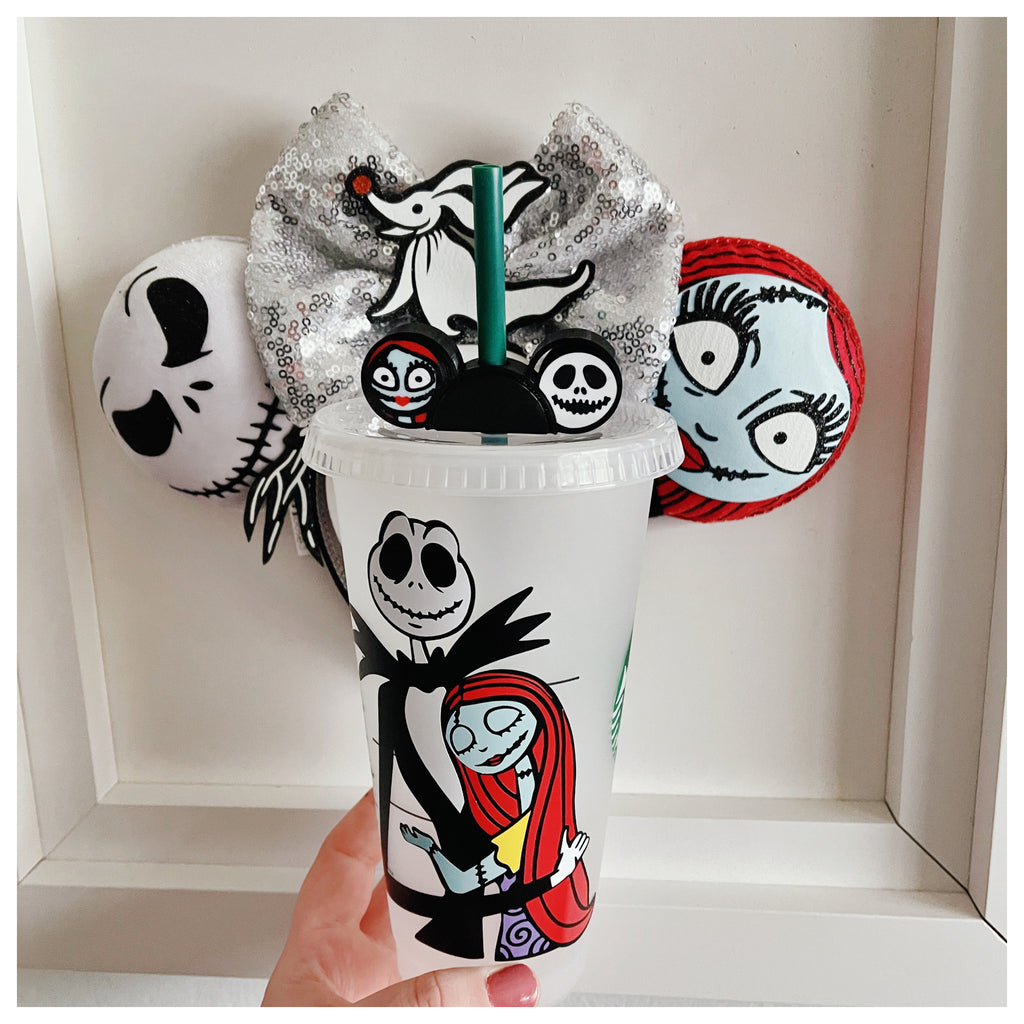 Jack and Sally Hugging Cold Cup INCLUDES matching Straw Buddy