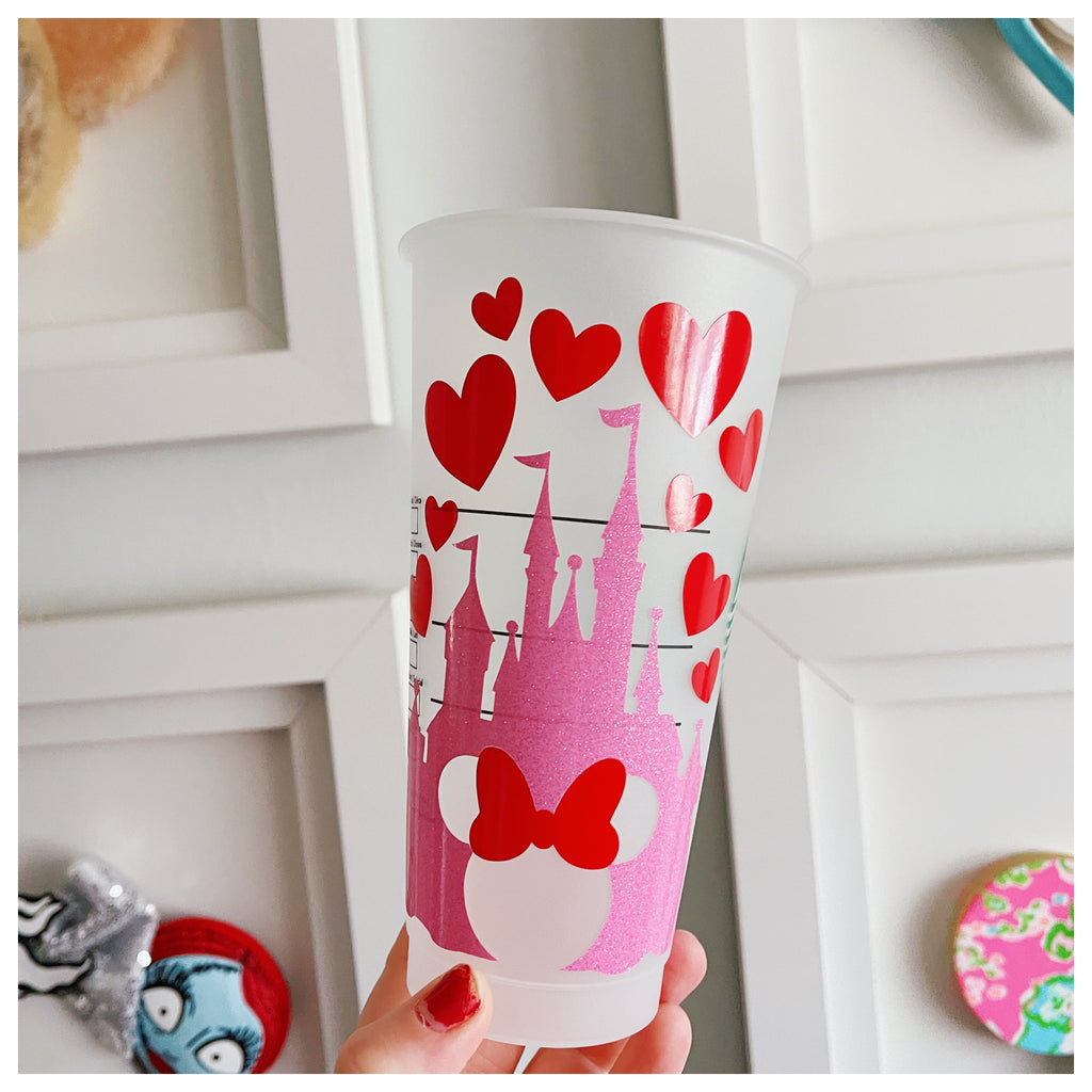 Glitter Pink Castle with Red Hearts Venti Cold Cup