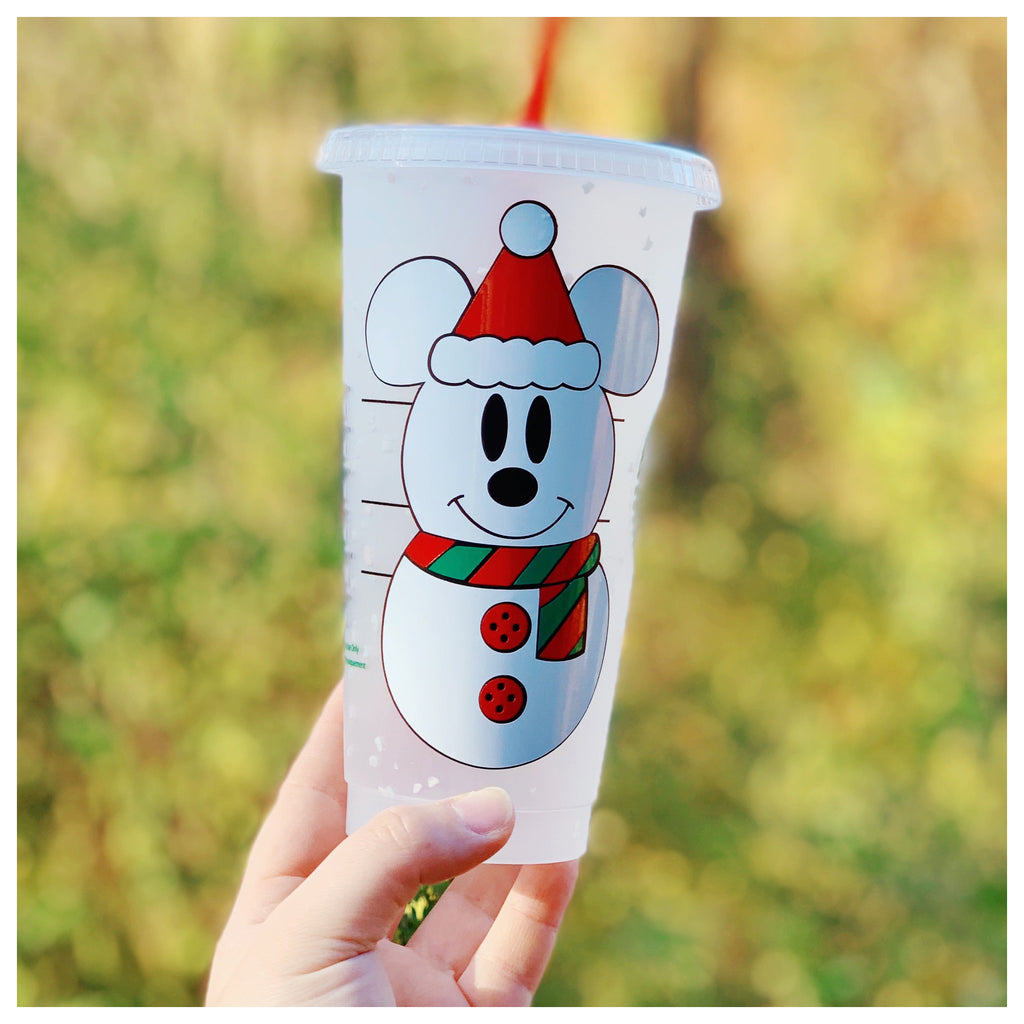 Snowman Confetti Cold Cup with Clear Lid and Red Glitter Straw