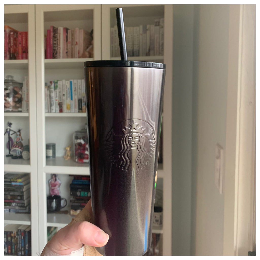 Custom Gray to Black Ombre Metal Venti Tumbler