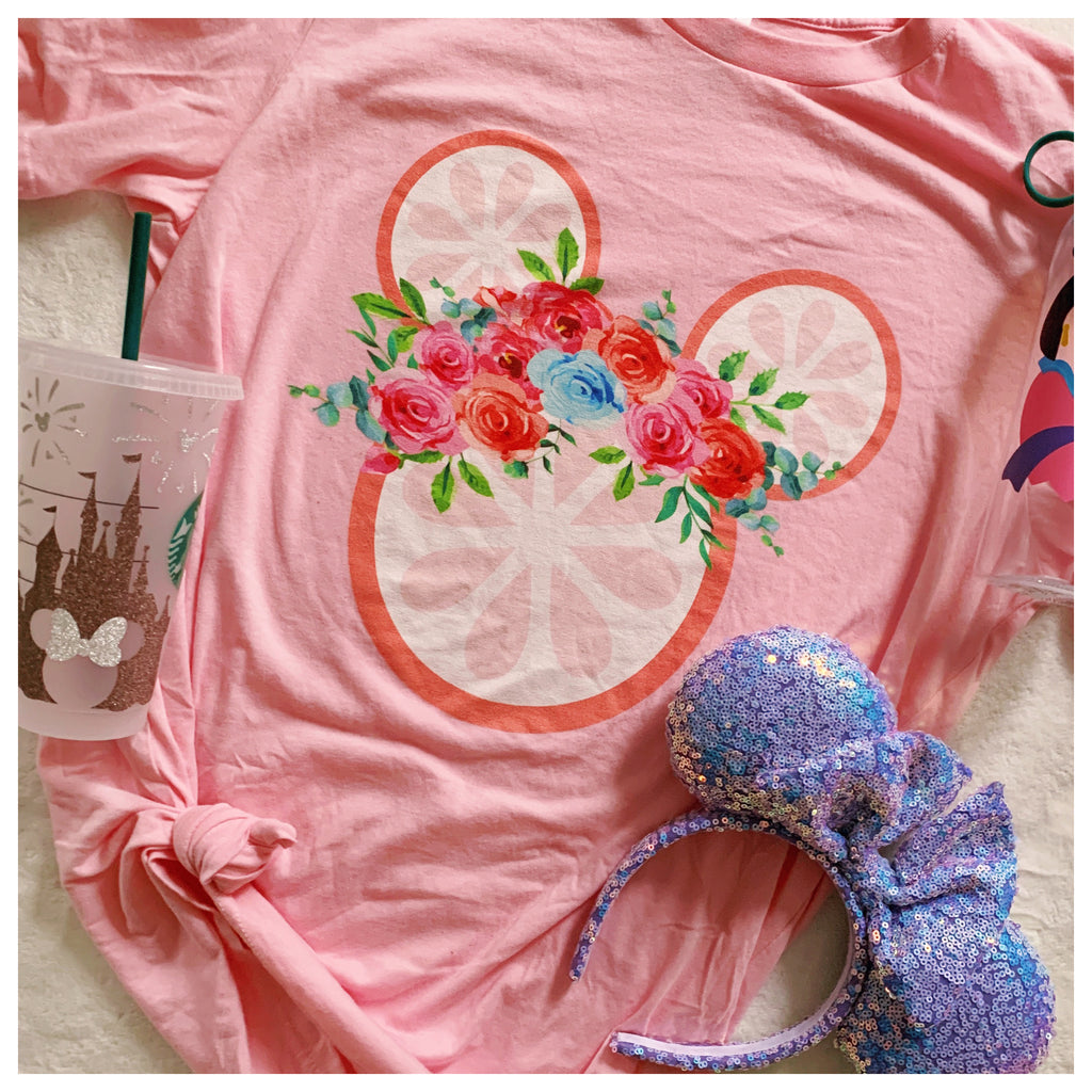 Grapefruit Floral Mouse Head t-shirt