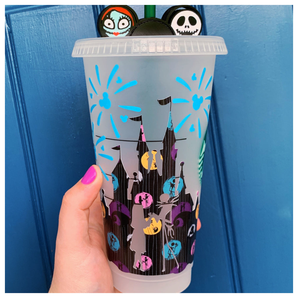 Halloween Black Pattern w/ Blue Fireworks Character Castle Cold Cup