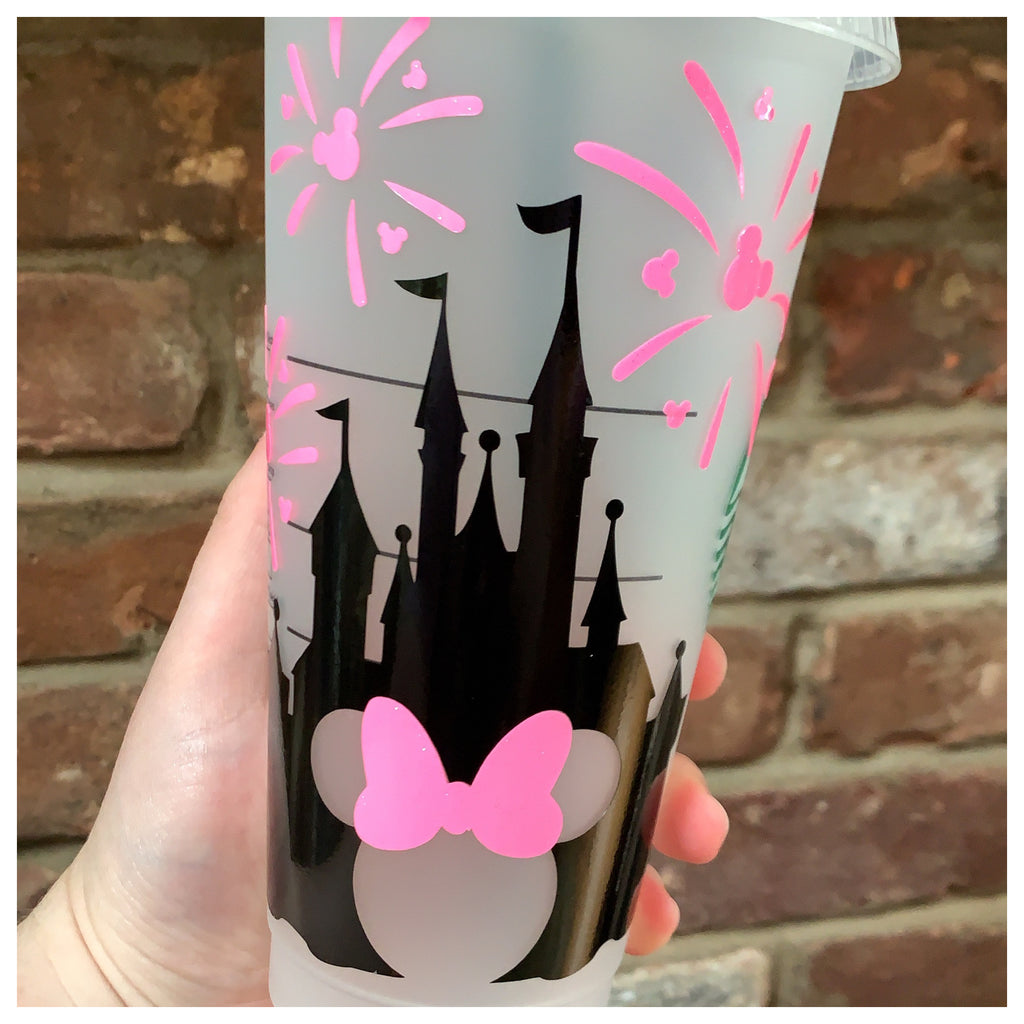 Black Castle with Pink Fireworks Cold Cup