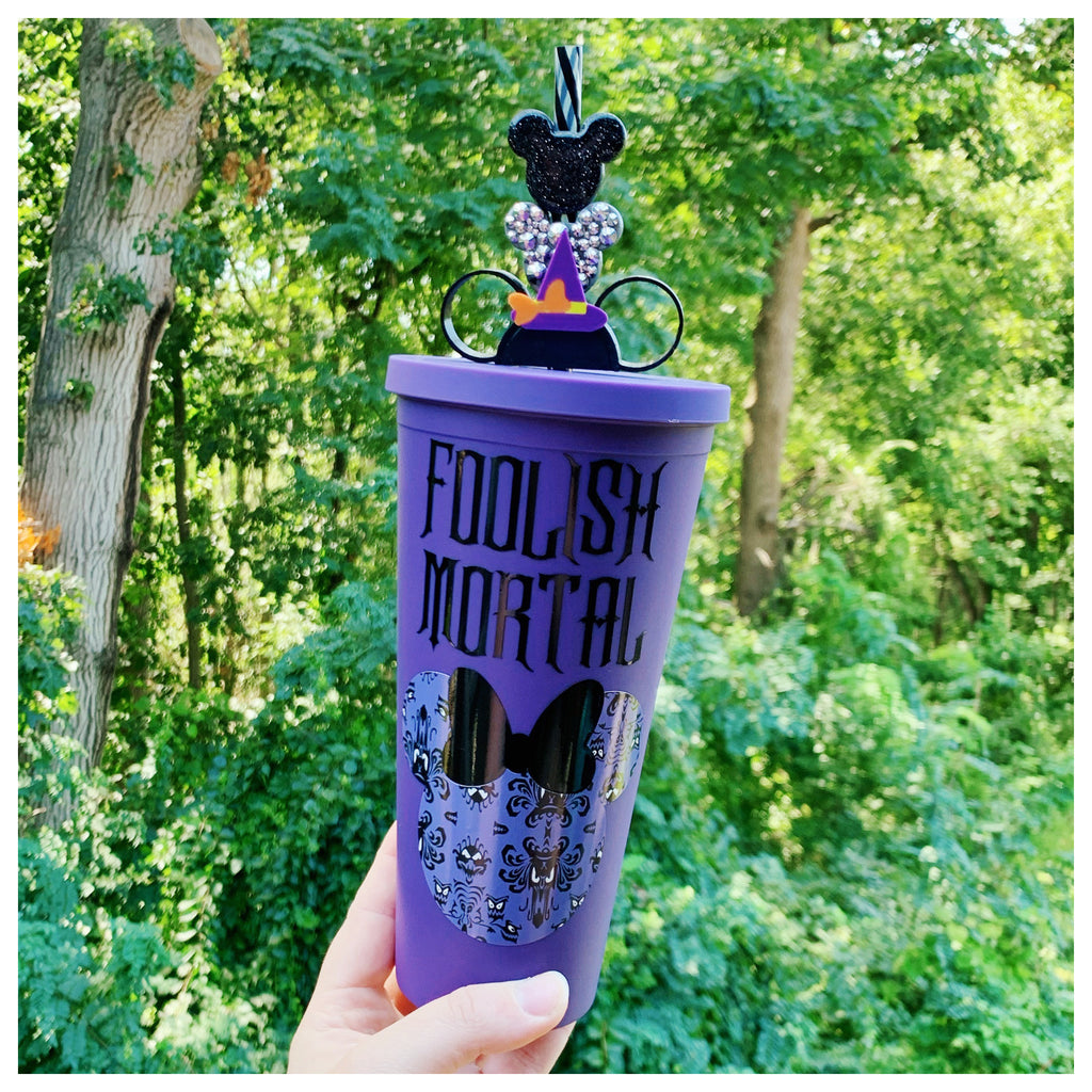 Haunted Castle Inspired Mouse Head Dark Purple Matte Tumbler
