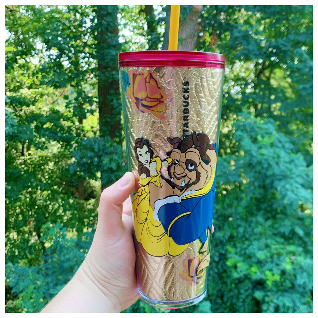 Beauty Princess and Prince Inspired Gold Rose Tumbler