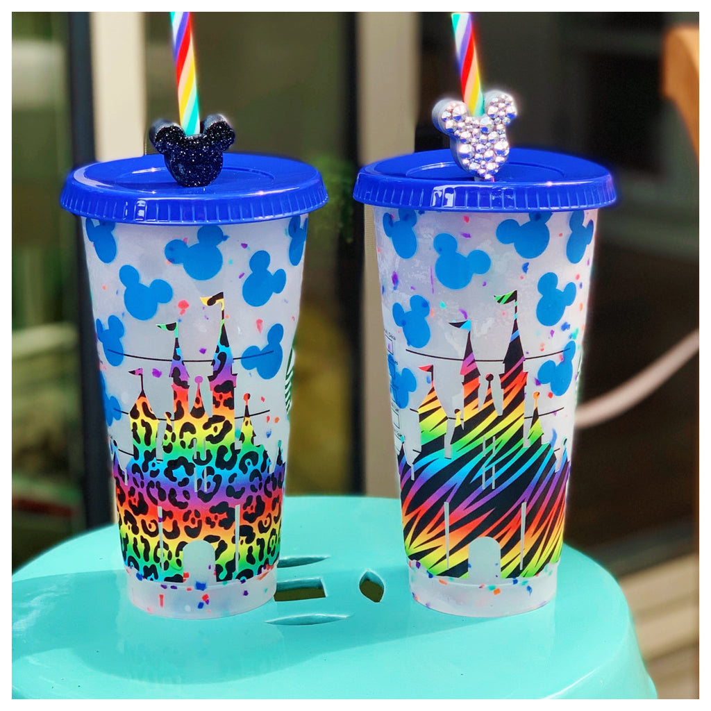 Rainbow Animal Print Castle Confetti Cold Cup w/ Color Changing Mouse Heads