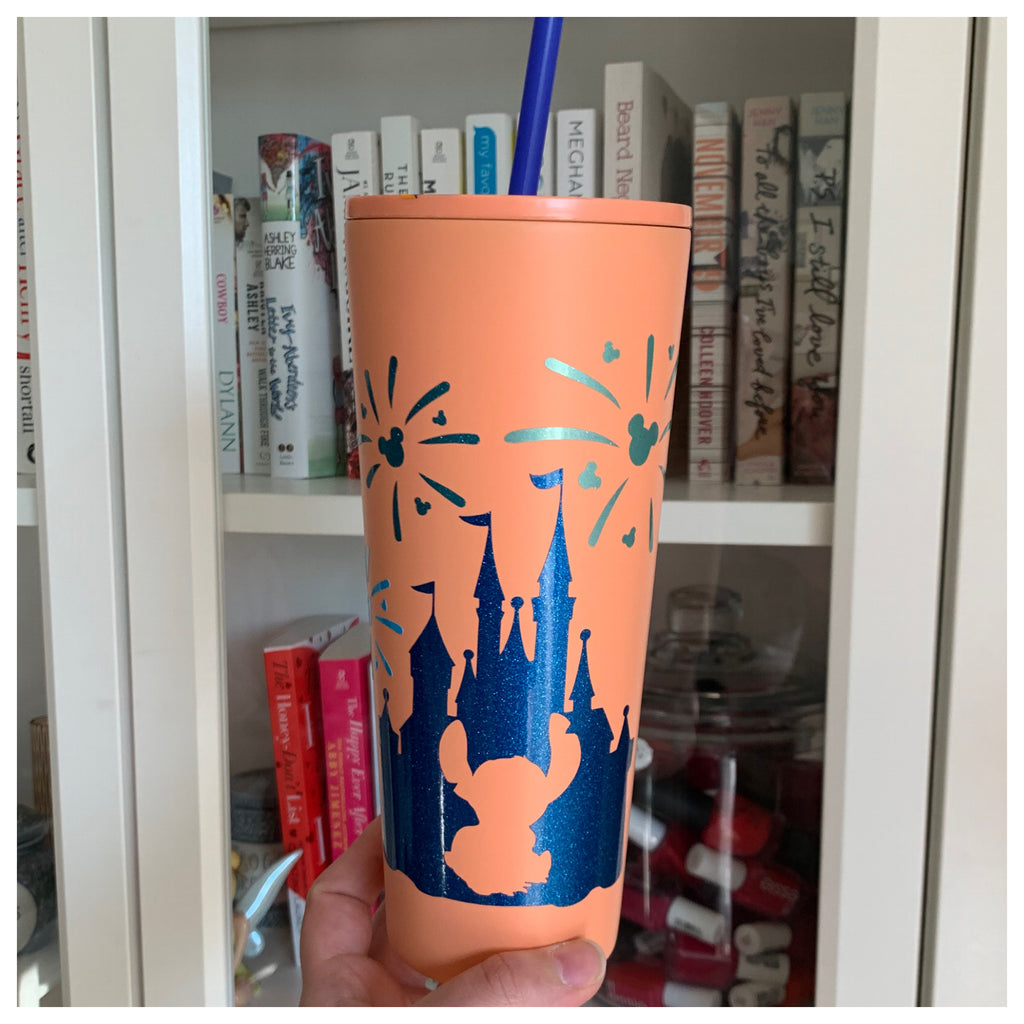 Character Castle Tumbler w/ Palm Tree Designed Lid