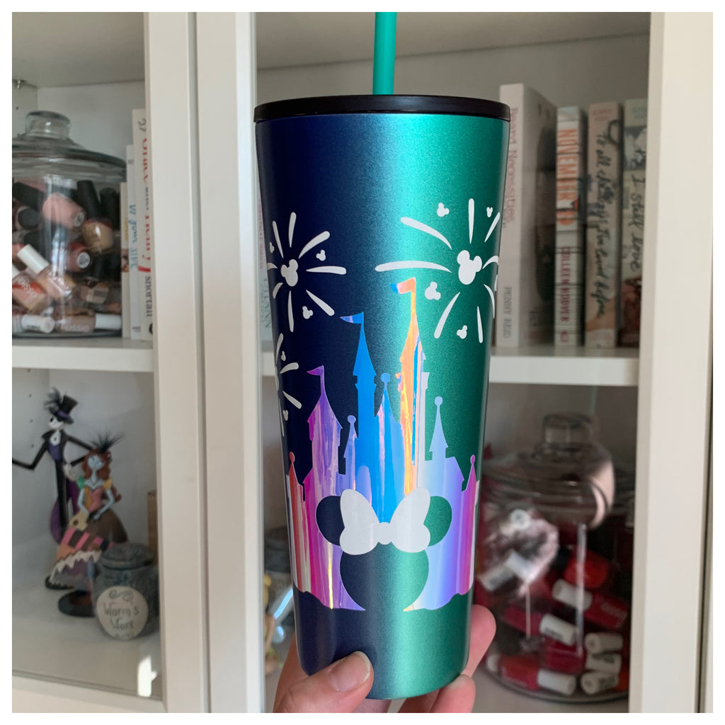 Character Mouse Castle Vertical Ombre Green to Blue Tumbler
