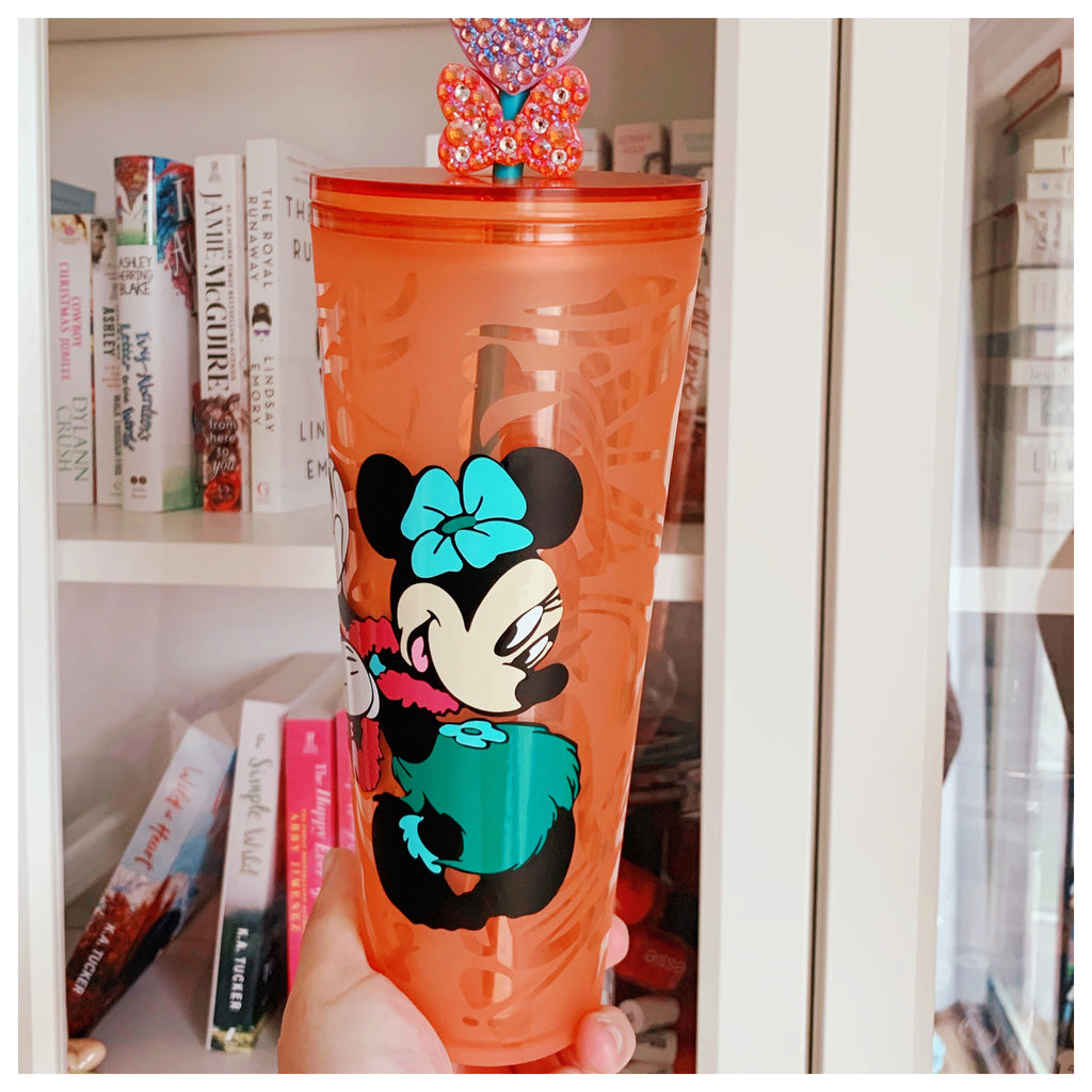 Character Hula Mouse Tropical Sea Glass Pattern Tumbler