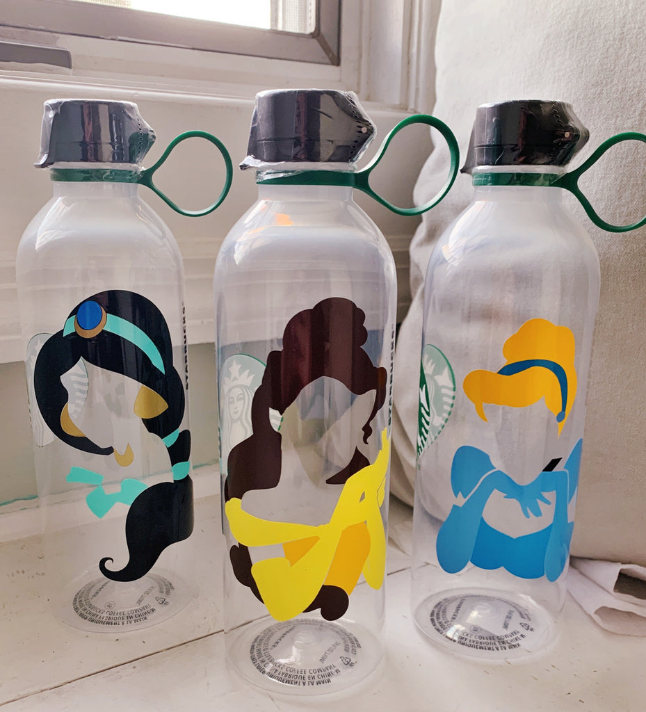 Personalized Starbucks Reusable Water Bottle w/ MultiColored Silhouette