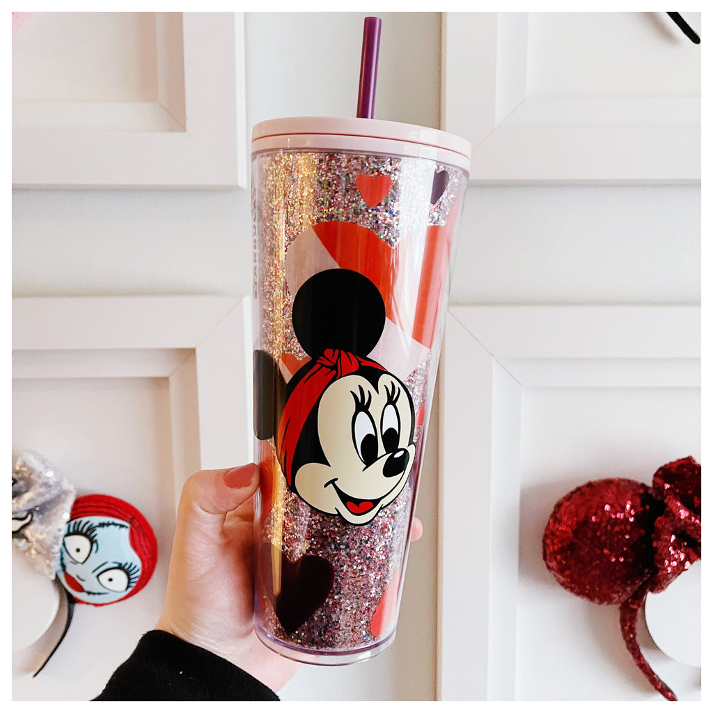 Minnie with headband Venti Glitter Hearts Tumbler