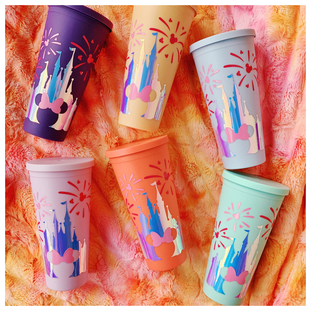 Opal Metallic Castle w/ Pink fireworks Inspired 22 oz. Matte Reusable Tumbler