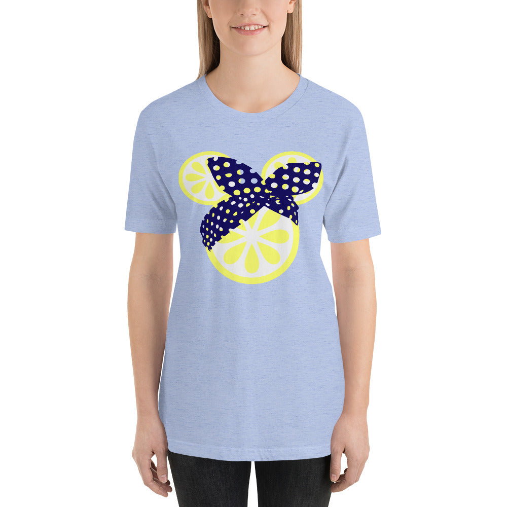 Mouse Lemon Head with Navy headwrap tshirt