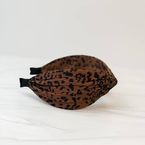 Top Twist Headband - Brown Leopard