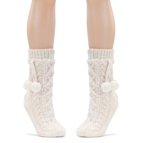 Dreaming Of You Chenille Sock Slippers -Cream