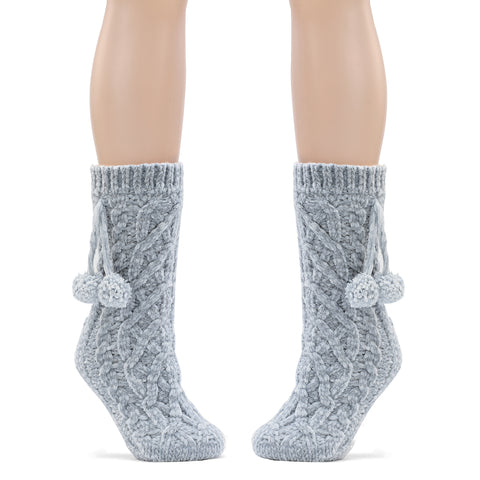 Dreaming Of You Chenille Sock Slippers-Gray