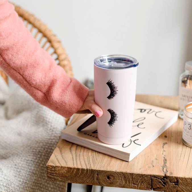 All About Those Lashes Pink Metal Travel Mug