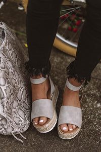 Key To Your Heart Grey Espadrille Sandals