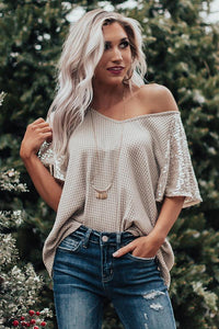 Shine On Darling Waffle Knit Sequin Top