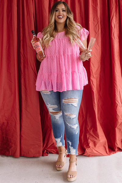 Cross My Heart Baby Doll Top-Hot Pink