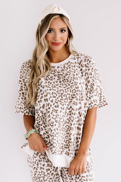 Cozy As Can Be Lady Leopard Set- Taupe