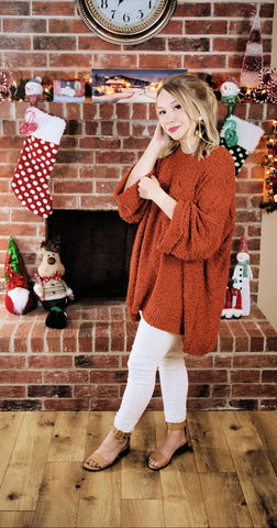 Cocoa Kisses and Campfires Popcorn Knit Sweater