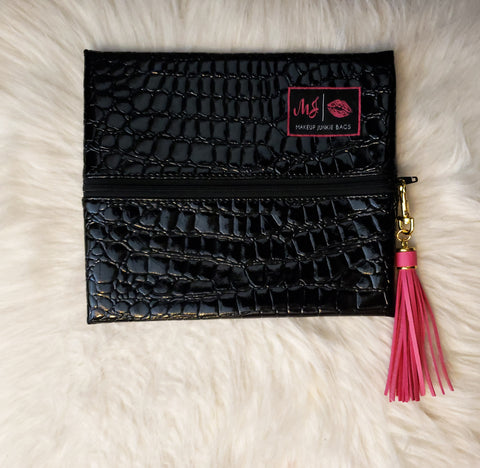 Midnight Gator Make Up Junkie Bag