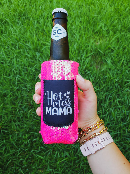 Hot Mess Mama Slim Can And Bottle Koozie