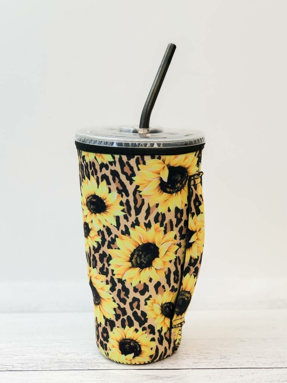 Leopard Sunflower Insulated Cold Cup Sleeve