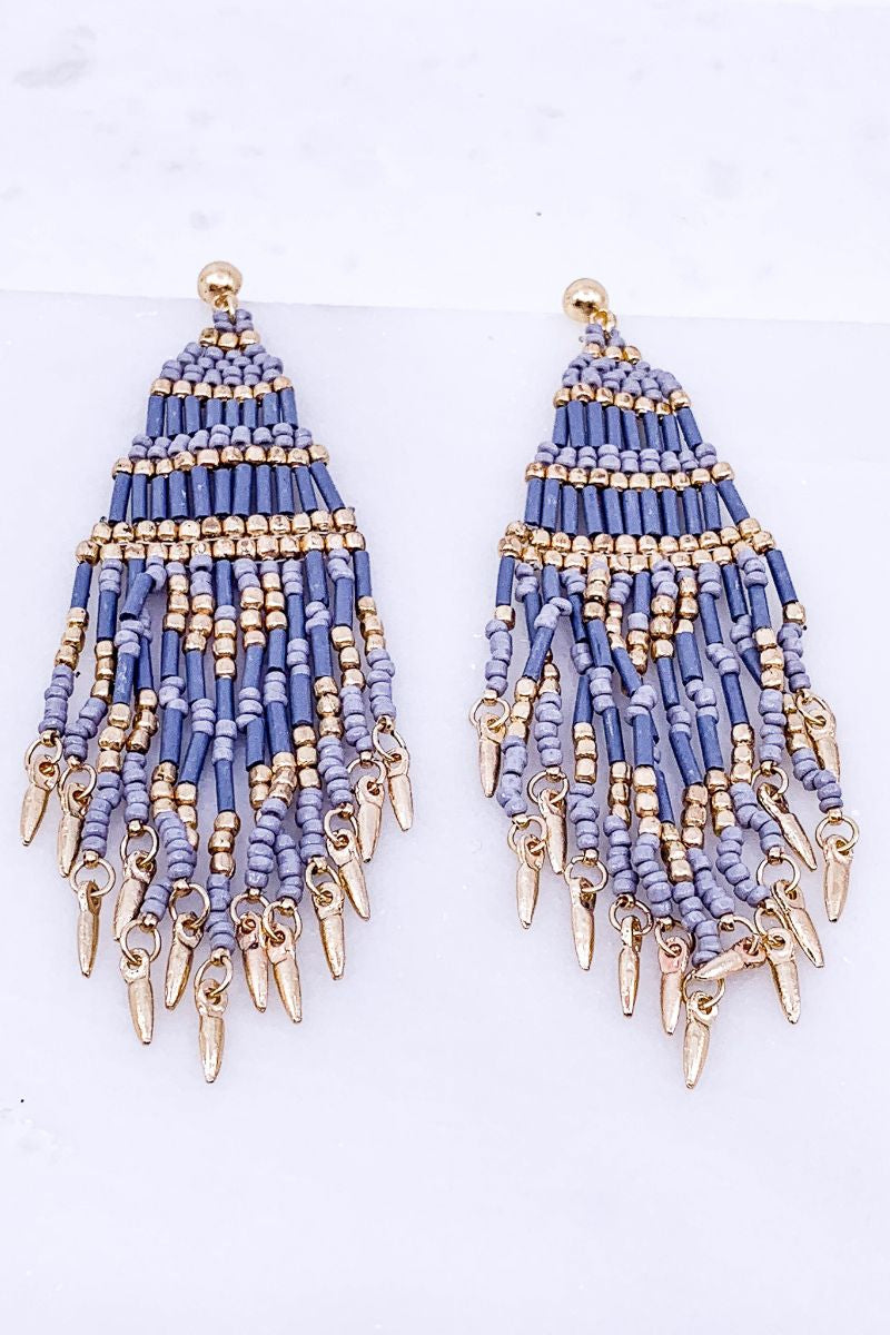 Can't Get Enough Sky Blue Beaded Boho Earrings