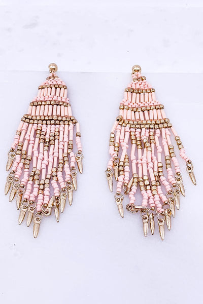 Can't Get Enough Blush Pink Beaded Boho Earrings