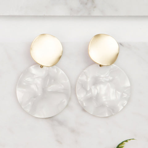 Search Is Over Pearl White Acrylic Earrings