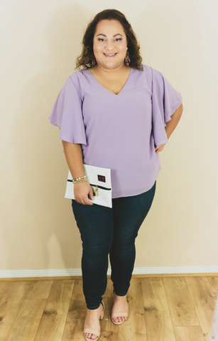 Dinner For Two Chiffon Shift Top-Lilac
