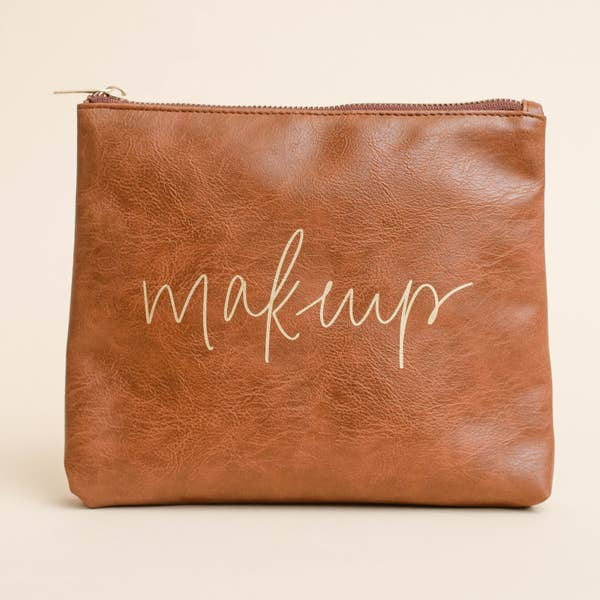 All Dolled Up Faux Leather Makeup Bag-Cognac