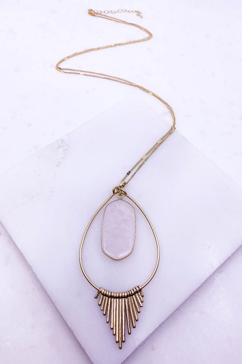 Boho Chic Blush Pendant Necklace